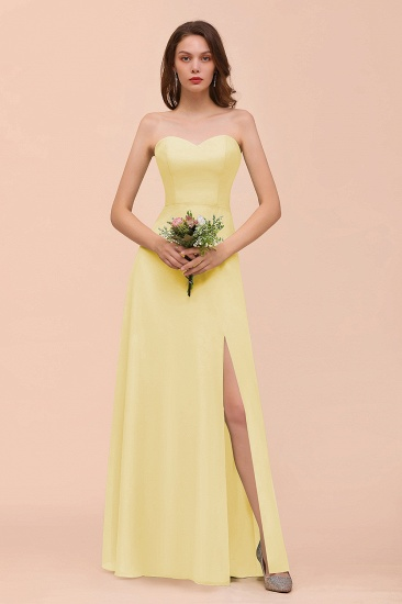 BMbridal Affordable Strapless Front Slit Long Dusty Sage Bridesmaid Dress_18