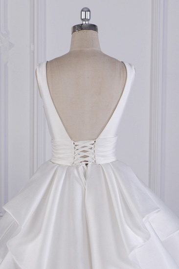 BMbridal Chic Ball Gown Jewel Layers Tulle Wedding Dress White Sleeveless Ruffles Bridal Gowns Online_7