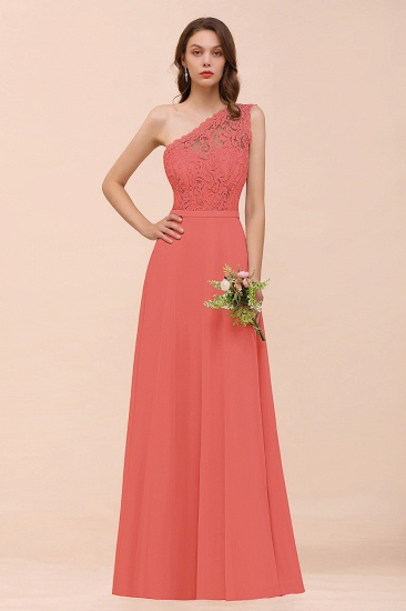 New Arrival Dusty Rose One Shoulder Lace Long Bridesmaid Dress_7