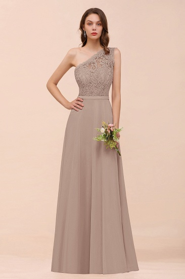 New Arrival Dusty Rose One Shoulder Lace Long Bridesmaid Dress_16