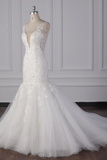 Gorgeous V-Neck Mermaid Lace Appliques Wedding Dress Sequined Sleeveless Bridal Gowns Online_4