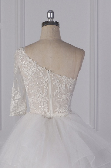 Glamorous Sheath Lace Tulle Wedding Dress One-Shoulder 3/4 Sleeve Appliques Bridal Gowns Online_6