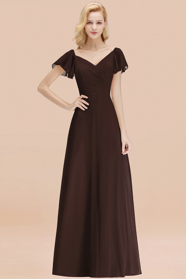 Elegent Short-Sleeve Long Bridesmaid Dress Online Yellow Chiffon Wedding Party Dress_11