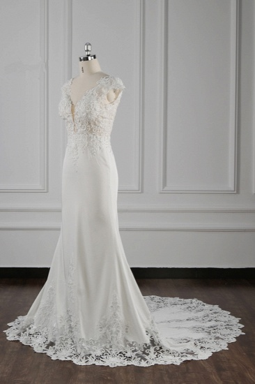Elegant V-neck Chiffon Lace Wedding Dress Beadings Appliques Mermaid Bridal Gowns Online_4