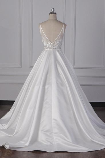 BMbridal Elegant Satin V-Neck Wedding Dress Lace Appliques Sleeveless Bridal Gowns On Sale_3