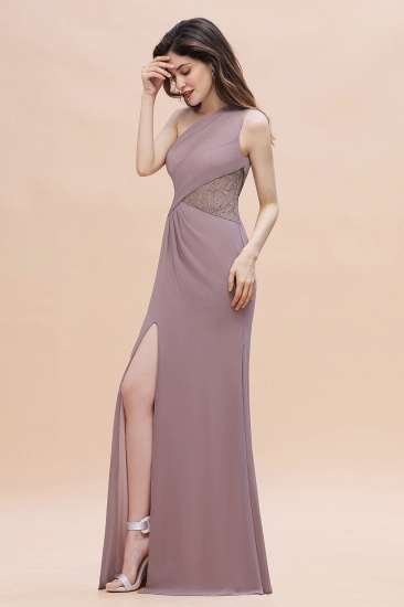 BMbridal Chic One-Shoulder Dusk Chiffon Lace Ruffle Bridesmaid Dress with Front Slit On Sale_7