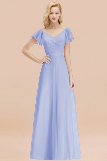 Elegent Short-Sleeve Long Bridesmaid Dress Online Yellow Chiffon Wedding Party Dress_22