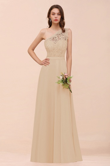 New Arrival Dusty Rose One Shoulder Lace Long Bridesmaid Dress_14