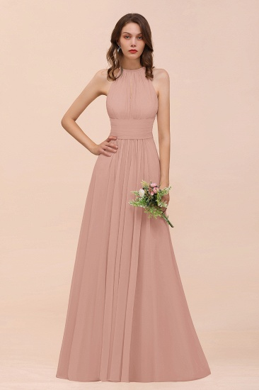 Elegant Chiffon Jewel Ruffle Champagne Affordable Bridesmaid Dress Online_6