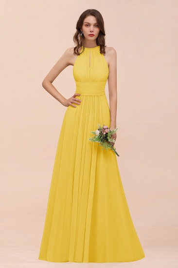 Elegant Chiffon Jewel Ruffle Champagne Affordable Bridesmaid Dress Online_17