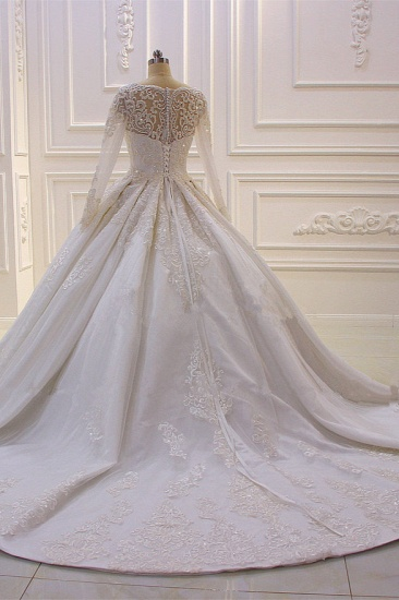 BMbridal Luxury Satin Tulle Ruffle Wedding Dress Long Sleeves Appliques Beadings Bridal Gowns On sale_3