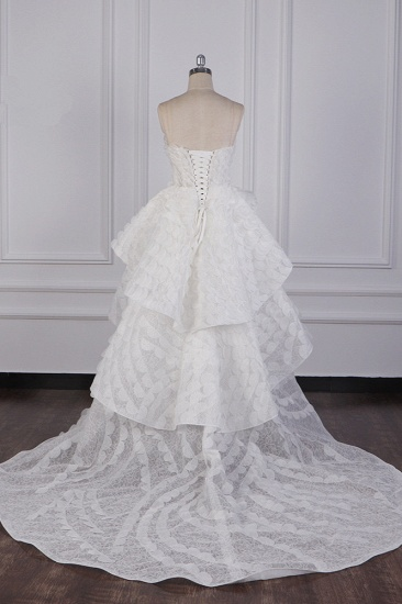 BMbridal Chic Hi-Lo Strapless Tulle Wedding Dress Appliques Sleeveless Bridal Gowns Online_3