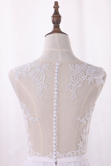 BMbridal Elegant Jewel Tull Lace Wedding Dress Sleeveless Appliques Ruffles Bridal Gowns On Sale_4