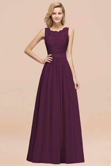 Elegant Chiffon Lace Scalloped Sleeveless Ruffle Bridesmaid Dresses_20
