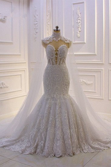 Stylish V-Neck Tulle Lace Wedding Dress Mermaid Appliques Beadings Bridal Gowns with Wraps
