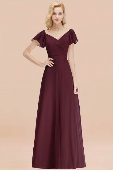 Elegent Short-Sleeve Long Bridesmaid Dress Online Yellow Chiffon Wedding Party Dress_47