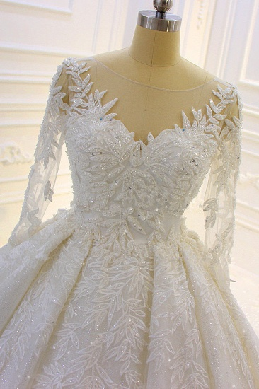 BMbridal Luxury Ball Gown Lace Appliques Beading Wedding Dress Long Sleeves Ruffles Bridal Gowns On Sale_6