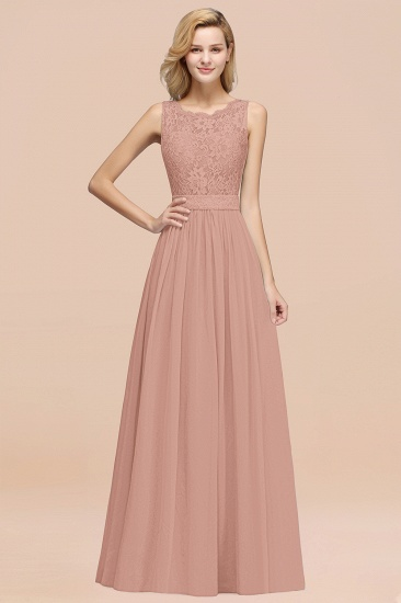 Elegant Chiffon Lace Scalloped Sleeveless Ruffle Bridesmaid Dresses_6