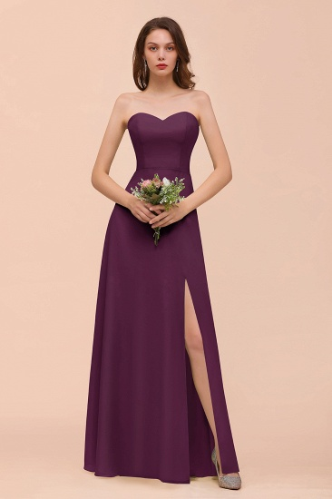 BMbridal Affordable Strapless Front Slit Long Dusty Sage Bridesmaid Dress_20