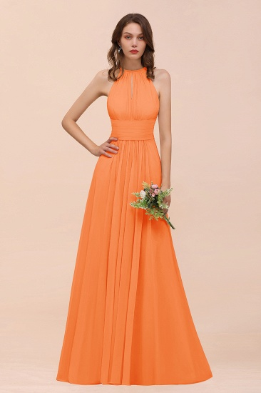 Elegant Chiffon Jewel Ruffle Champagne Affordable Bridesmaid Dress Online_15