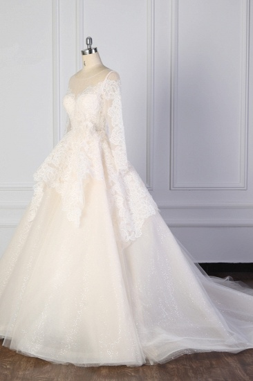 BMbridal Exquisite Lace Appliques Wedding Dress Tulle Long Sleeves Sequined Bridal Gown On Sale_4