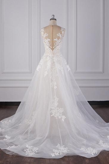 BMbridal Elegant Jewel Tulle Lace Wedding Dress Appliques Sleeveless Mermaid Bridal Gowns Online_4