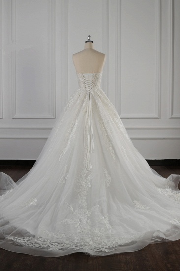Elegant Strapless White Lace Wedding Dress Sleeveless Appliques Ruffle Bridal Gowns Online_3