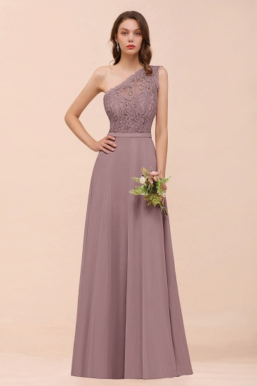 New Arrival Dusty Rose One Shoulder Lace Long Bridesmaid Dress_37
