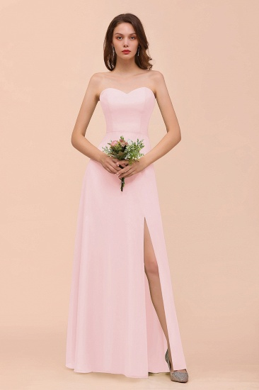 BMbridal Affordable Strapless Front Slit Long Dusty Sage Bridesmaid Dress_3