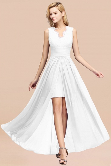 BMbridal Elegant Chiffon Lace Jewel Sleeveless Bridesmaid Dress with Ruffle_1