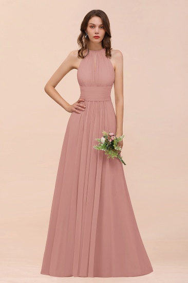 Elegant Chiffon Jewel Ruffle Champagne Affordable Bridesmaid Dress Online_50