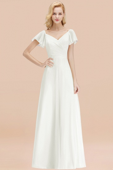 Elegent Short-Sleeve Long Bridesmaid Dress Online Yellow Chiffon Wedding Party Dress_2