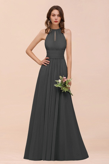 Elegant Chiffon Jewel Ruffle Champagne Affordable Bridesmaid Dress Online_46