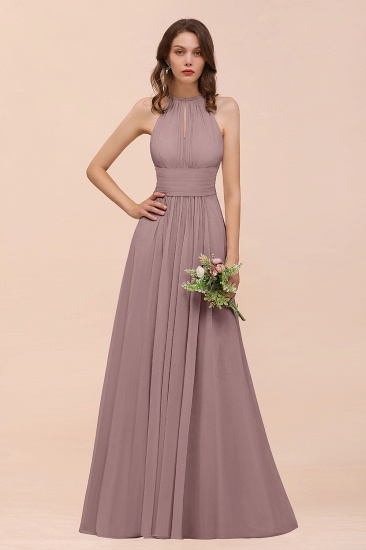 Elegant Chiffon Jewel Ruffle Champagne Affordable Bridesmaid Dress Online_37