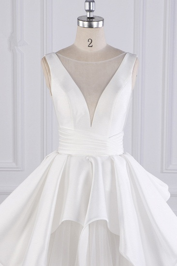 BMbridal Chic Ball Gown Jewel Layers Tulle Wedding Dress White Sleeveless Ruffles Bridal Gowns Online_5