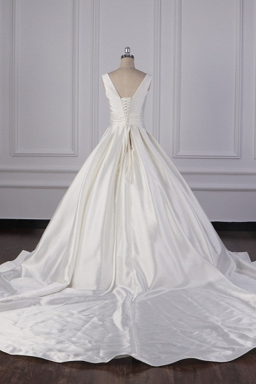 BMbridal Simple Jewel White Satin Wedding Dress Sleeveless Ruffles Bridal Gowns On Sale_3