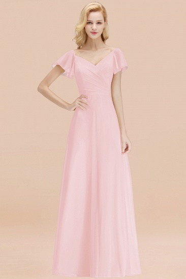 Elegent Short-Sleeve Long Bridesmaid Dress Online Yellow Chiffon Wedding Party Dress_3