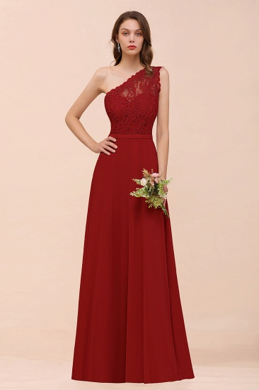New Arrival Dusty Rose One Shoulder Lace Long Bridesmaid Dress_48