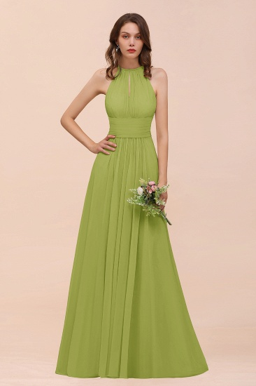Elegant Chiffon Jewel Ruffle Champagne Affordable Bridesmaid Dress Online_34