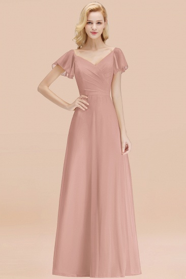 Elegent Short-Sleeve Long Bridesmaid Dress Online Yellow Chiffon Wedding Party Dress_6