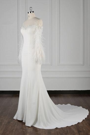 Chic Jewel Sleeveless White Chiffon Wedding Dress Mermaid Appliques Bridal Gowns with Fur Onsale_4