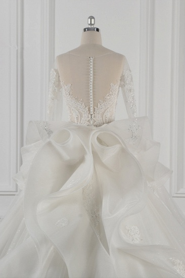 Gorgeous Jewel Lace Tulle Wedding Dress Long Sleeves Beadings Bridal Gowns On Sale_7