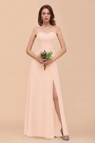 BMbridal Affordable Strapless Front Slit Long Dusty Sage Bridesmaid Dress_5