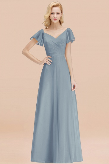 Elegent Short-Sleeve Long Bridesmaid Dress Online Yellow Chiffon Wedding Party Dress_40