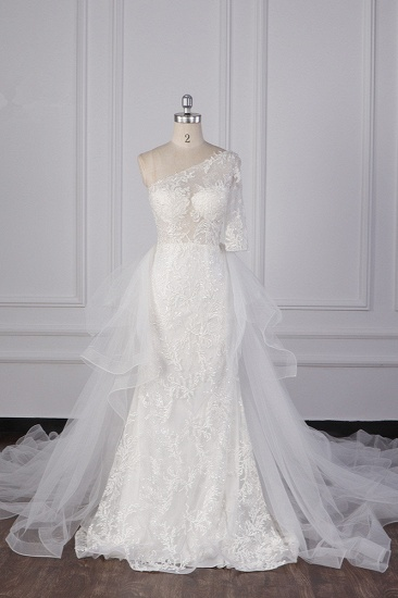 Glamorous Sheath Lace Tulle Wedding Dress One-Shoulder 3/4 Sleeve Appliques Bridal Gowns Online_1
