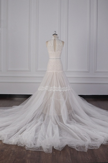 BMbridal Chic High-Neck Tulle Lace Wedding Dress Appliques Sleeveless Bridal Gowns with Beading Sashes Online_4