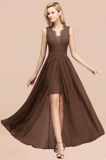 BMbridal Elegant Chiffon Lace Jewel Sleeveless Bridesmaid Dress with Ruffle_12