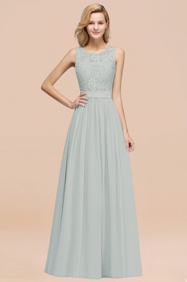 Elegant Chiffon Lace Scalloped Sleeveless Ruffle Bridesmaid Dresses_38