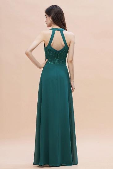 BMbridal Elegant Straps Peacock Chiffon Appliques Bridesmaid Dress Sleeveless On Sale_3