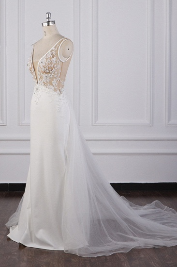 BMbridal Chic Sheath White Satin V-neck Wedding Dress Tulle Lace Appliques Bridal Gowns Online_4